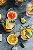 Citrus fruit drinks with ice cubes
