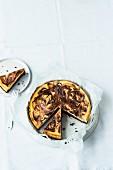 Cheesecake brownie tart, sliced