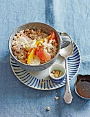 Millet muesli with fresh citrus fruits and bananas