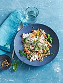 Spicy vegetable muesli with shoots and herbs