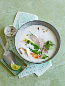 Thai coconut soup with duck breast, galangal and vegetables