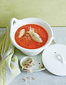 Cream of tomato soup with ricotta dumplings and bean sprouts