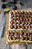 Plum tart, sliced