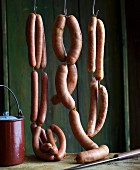 An arrangement of hanging sausages