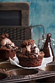Brownies with ice cream and hot chocolate sauce