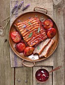 Pork belly with a plum and lavender glaze