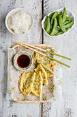 Egg dumplings with soy sauce (China)