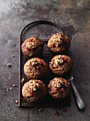 Apple muffins with walnuts and pomegranate seeds