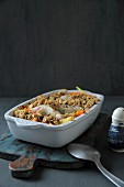 Fish and vegetable bake with crumble