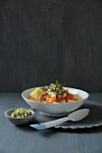 Vegetable stew with unripe spelt grains and gremolata