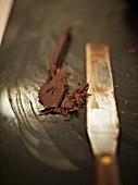 Cooking chocolate with a palette knife