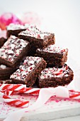 Chocolate slices with candy canes (Christmas)