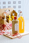 Homemade liqueurs as Christmas presents