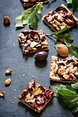 Damson tray bake cake with almonds