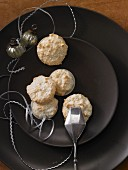 Coconut macaroons on a brown plate