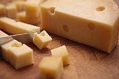 Gouda being diced