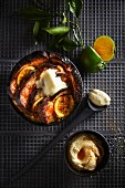 Bread-and-butter pudding with grapefruit and whiskey butter