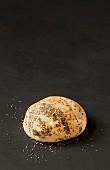 A burger bun with chia seeds on a dark surface