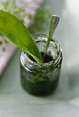 Wild garlic pesto in a jar with a wild garlic leaf