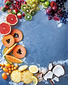Various fruits and crushed ice