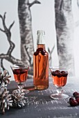 Homemade cranberry liqueur for Christmas