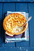 Ham, leek and celery bake with a puff pastry topping