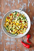 Sweetcorn and avocado salad with chilli