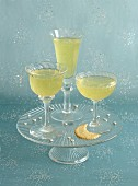 Yellow jellies in three glasses