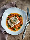 Grilled fish on a pumpkin medley with lentils