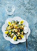 Potato and leek salad with boiled egg