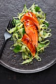 Salmon with a mustard glaze and a cucumber salad