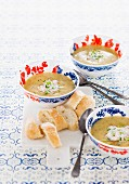 Potato and mustard soup with smoked salmon cream