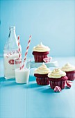 Red velvet cupcakes with vanilla frosting