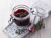 A jar of raspberry and thyme jam