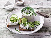 Wholemeal bread topped with herb cottage cheese and fresh cucumbers