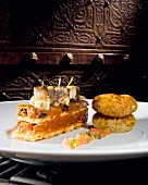 Oriental aubergine millefeuille with sardines and celery pastilla