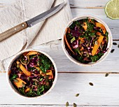 Red cabbage and carrot salad with nut butter and a lime dressing