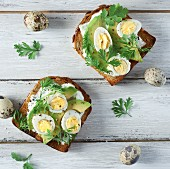 Toast with avocado, quail's eggs, garlic mayonnaise and herbs
