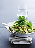 White cabbage salad with almonds and coriander