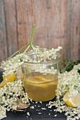 A glass of elderflower jelly