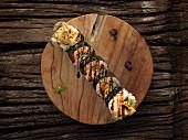 Futomaki sushi with chicken and teriyaki sauce