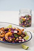 Glazed prawns with a warm red cabbage salsa