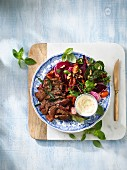 Herb rump steak with salad and horseradish crème fraîche