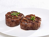 Fried beef fillet steaks with pepper