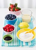 Ingredients of fruit ice cream