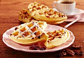 American waffles with pecan nuts and dried cranberries (USA)