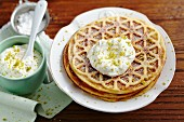 Marzipan waffles with almond and pistachio cream