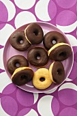 Doughnuts mit Schokoladenglasur (Draufsicht)