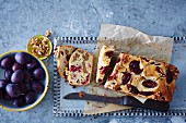 Walnut & banana cake with chilli plums
