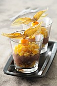 Chocolate cream with preserved citrus fruits